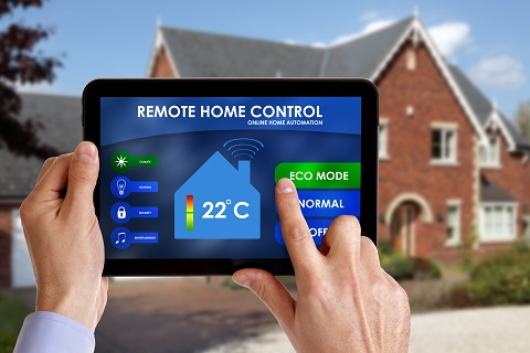 Holding a smart energy controller or remote home control online