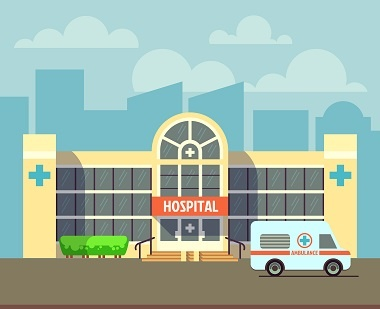 Graphical image of a hospital building
